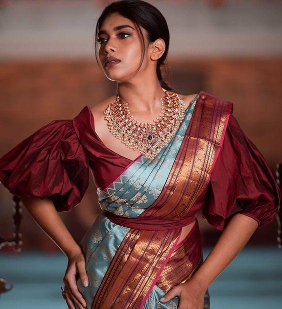 Blouse Designs For Pattu Silk Sarees (70)
