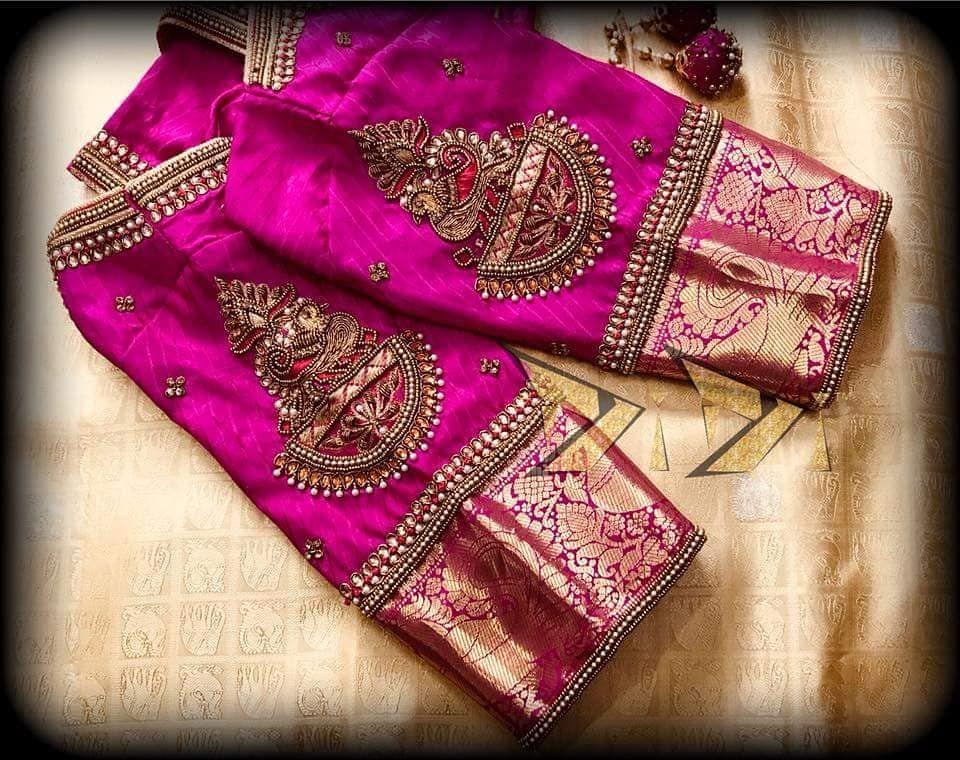 Blouse Designs For Pattu Silk Sarees (94)