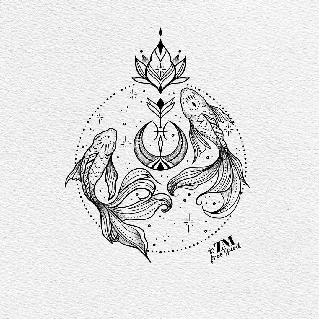 Pisces Horoscope Tattoo Zodiac Sign Fish (73)
