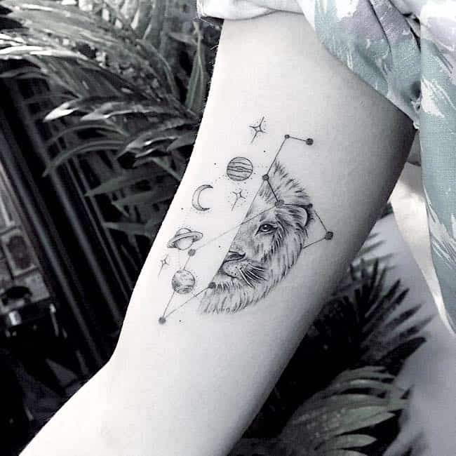 Leo Zodiac Horoscope Sign Symbol Tattoo Designs (12)