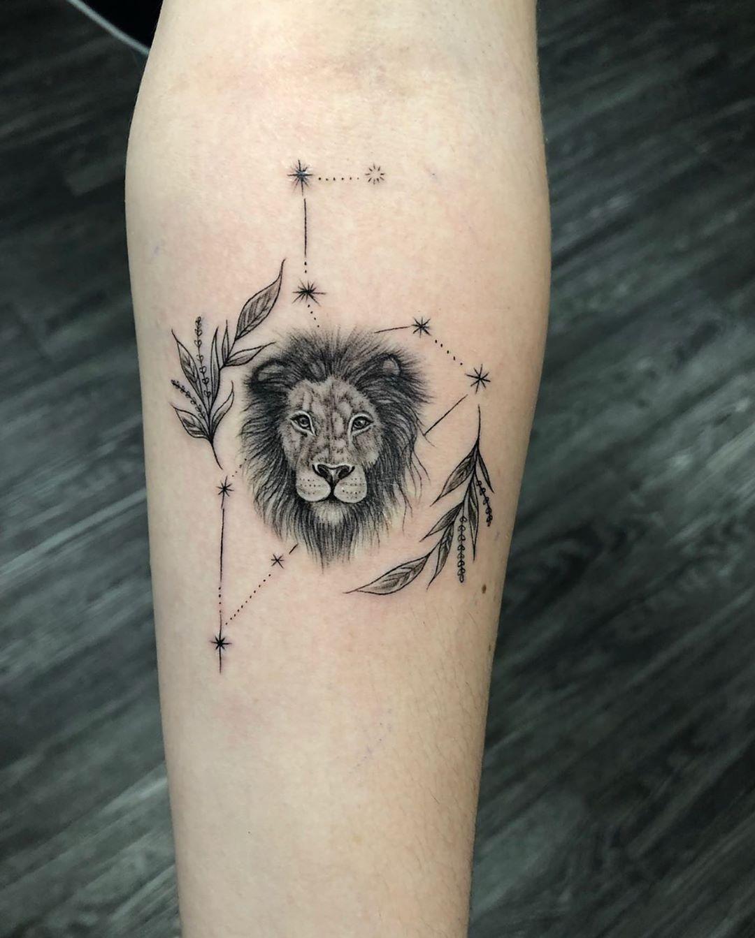Leo Zodiac Horoscope Sign Symbol Tattoo Designs (133)