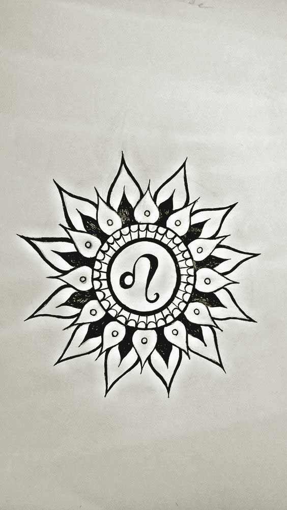 Leo Zodiac Horoscope Sign Symbol Tattoo Designs (149)