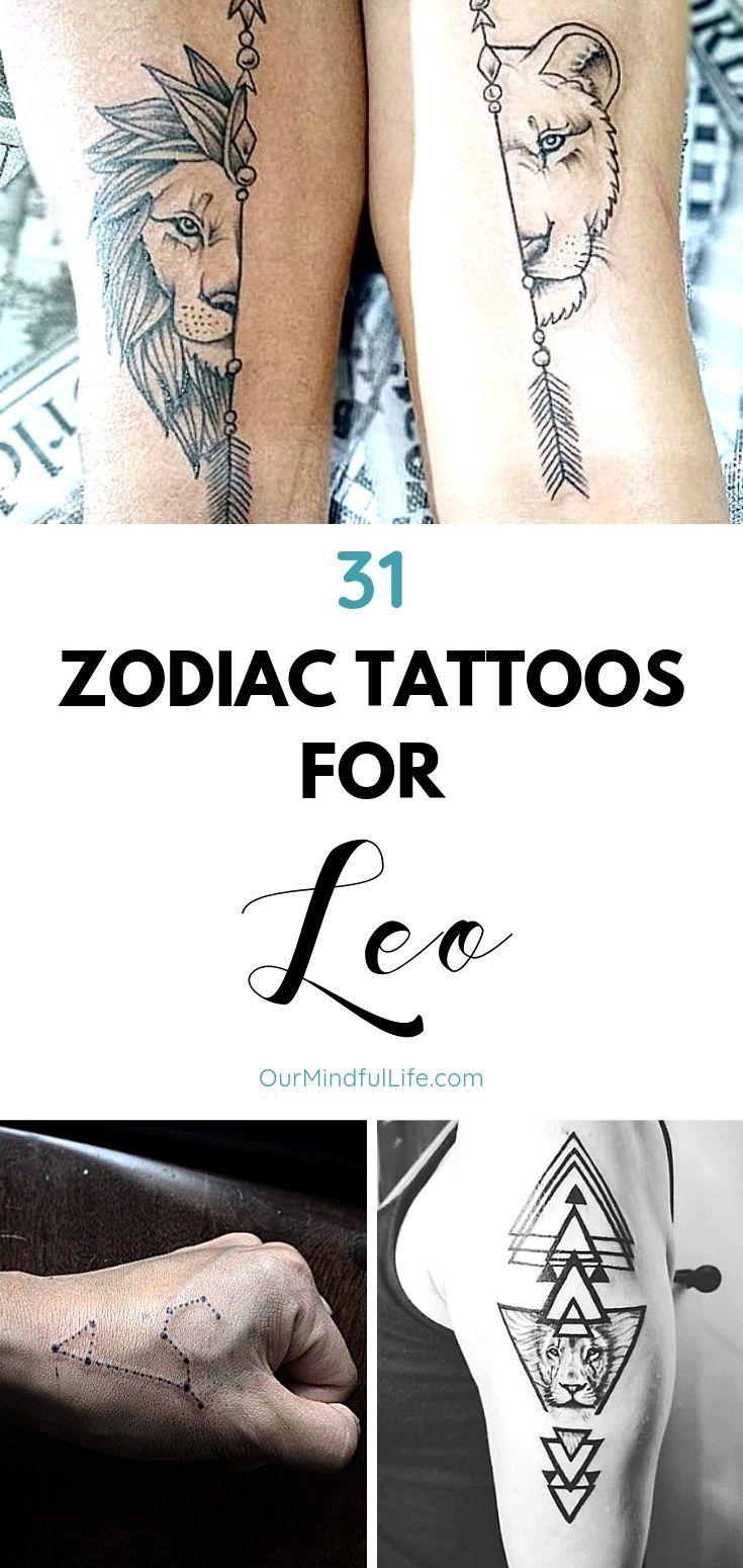 Leo Zodiac Horoscope Sign Symbol Tattoo Designs (171)