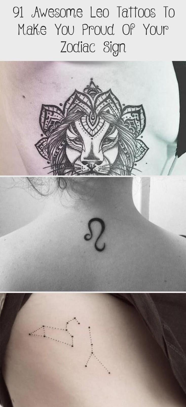 Leo Zodiac Horoscope Sign Symbol Tattoo Designs (193)