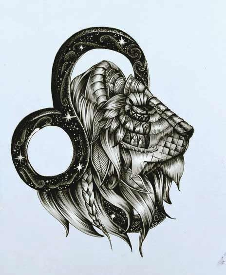 Leo Zodiac Horoscope Sign Symbol Tattoo Designs (205)