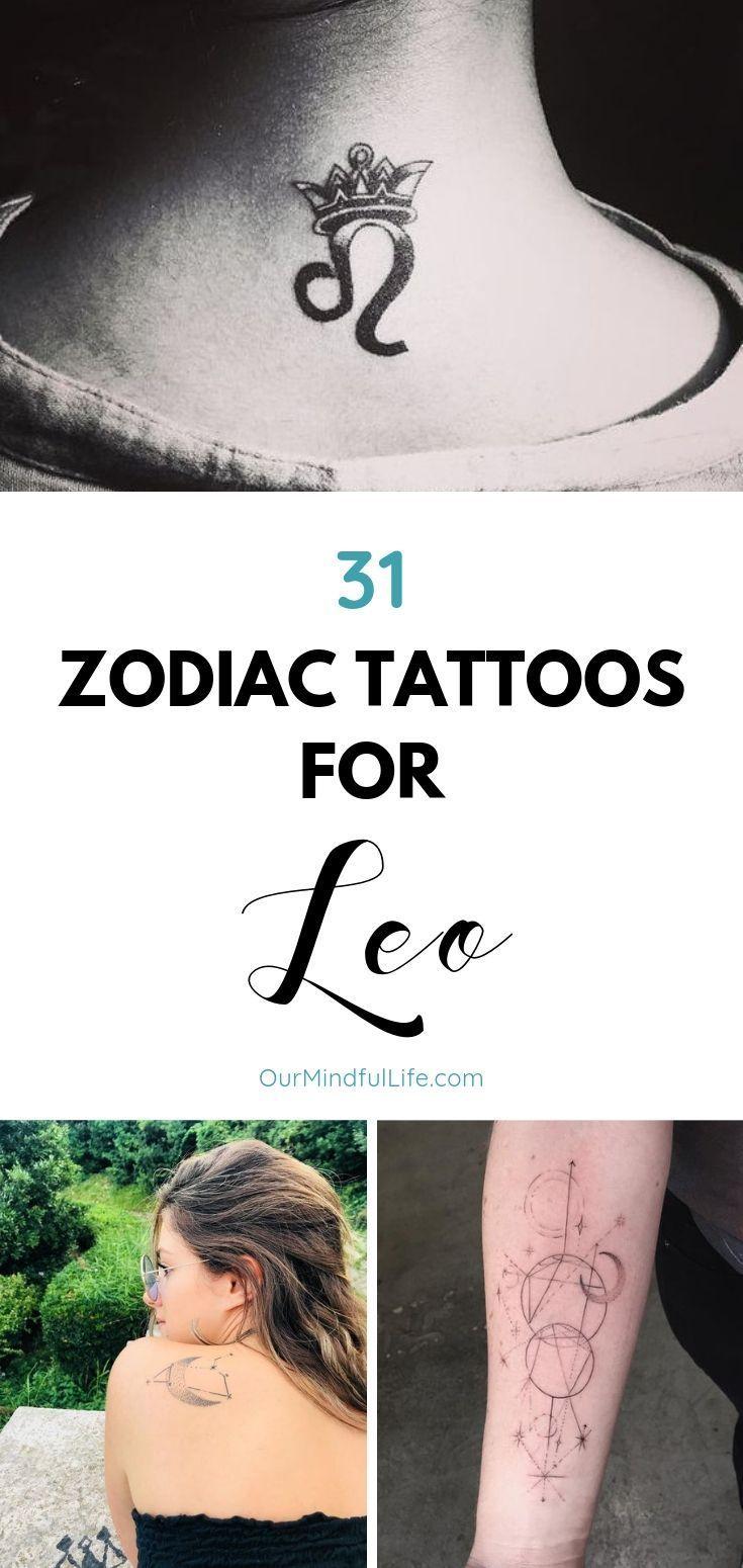 Leo Zodiac Horoscope Sign Symbol Tattoo Designs (74)