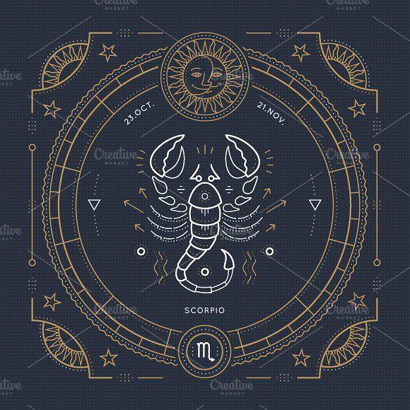 Scorpio Zodiac Horoscope Constellation Sign Symbol Tattoo (107)