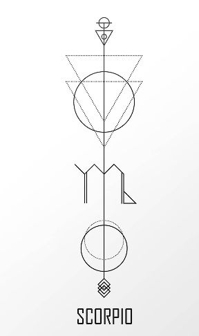 Scorpio Zodiac Horoscope Constellation Sign Symbol Tattoo (214)