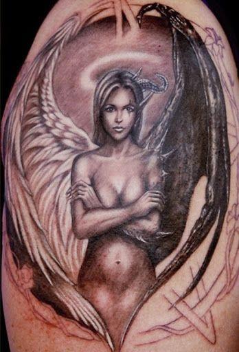 Half Angel Half Devil Tattoo Designs (103)