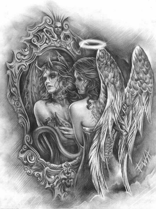 Half Angel Half Devil Tattoo Designs (118)