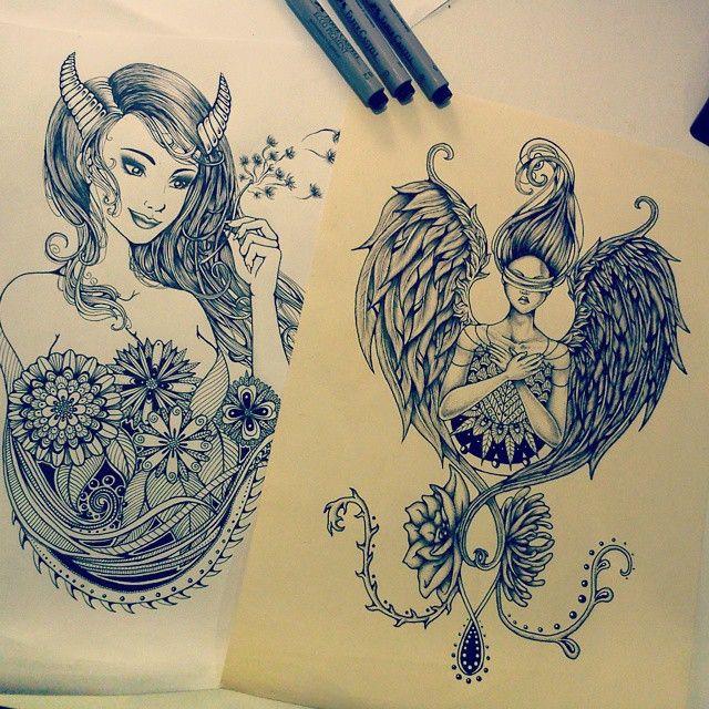 Half Angel Half Devil Tattoo Designs (142)
