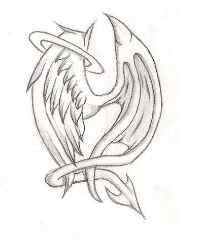 Half Angel Half Devil Tattoo Designs (207)