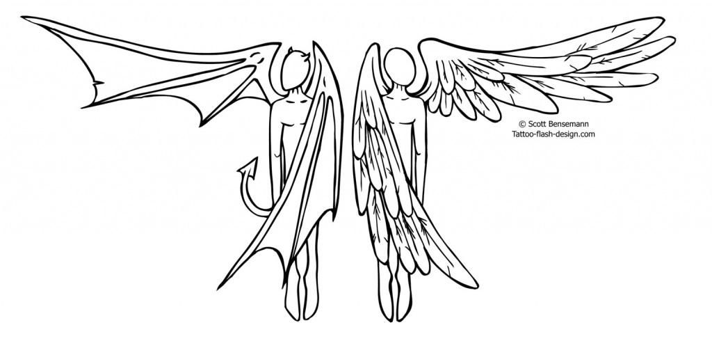 Half Angel Half Devil Tattoo Designs (232)