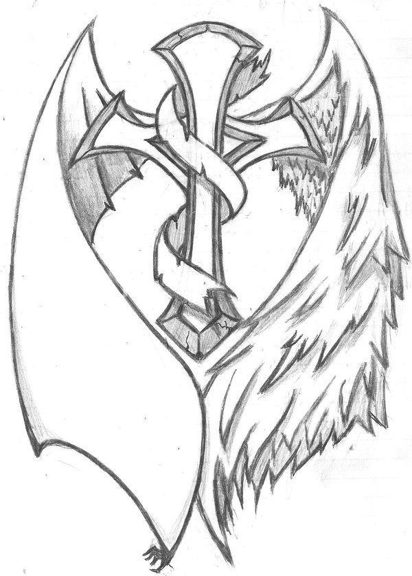 Half Angel Half Devil Tattoo Designs (240)