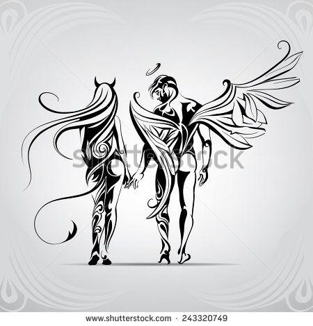 Half Angel Half Devil Tattoo Designs (245)