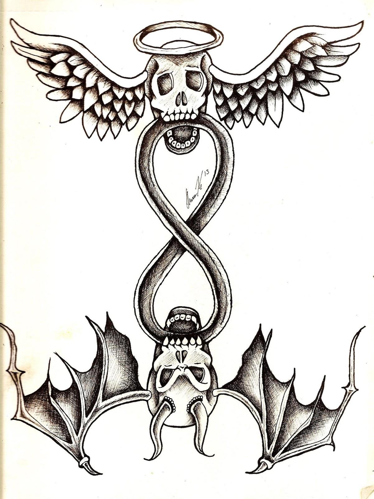 Half Angel Half Devil Tattoo Designs (32)