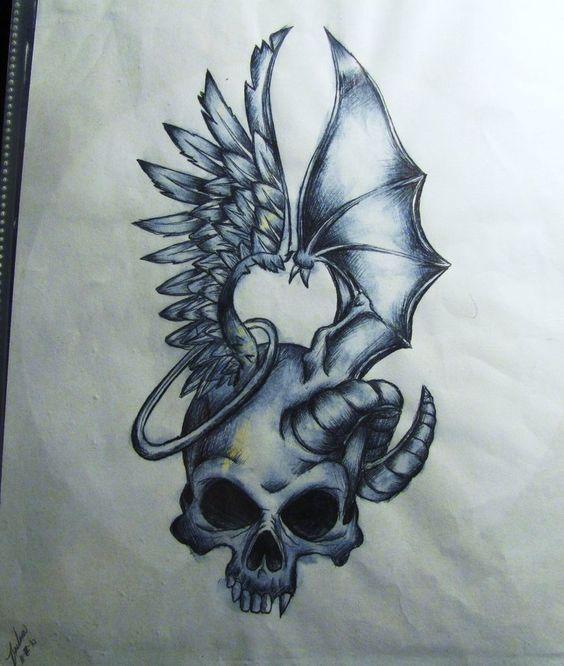 Half Angel Half Devil Tattoo Designs (56)