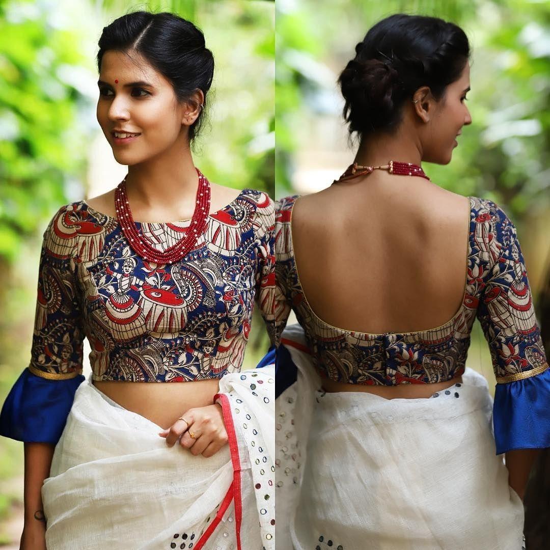 Kalamkari Saree Work Blouse Designs (10)