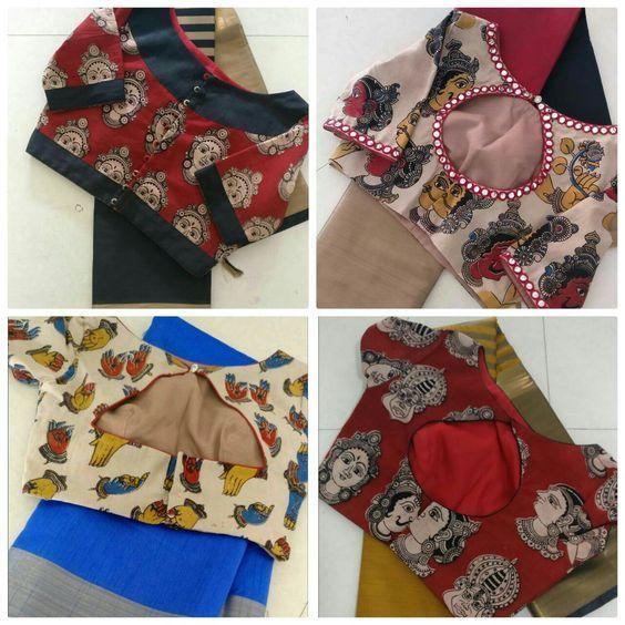 Kalamkari Saree Work Blouse Designs (106)