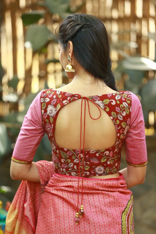 Kalamkari Saree Work Blouse Designs (107)