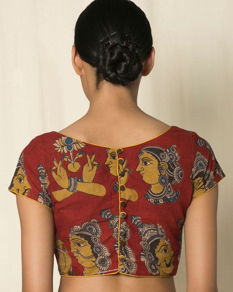 Kalamkari Saree Work Blouse Designs (108)