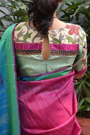 Kalamkari Saree Work Blouse Designs (110)