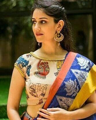 Kalamkari Saree Work Blouse Designs (111)