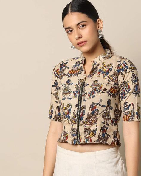 Kalamkari Saree Work Blouse Designs (113)