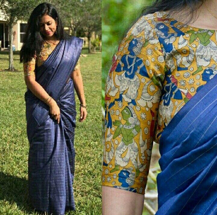 Kalamkari Saree Work Blouse Designs (115)