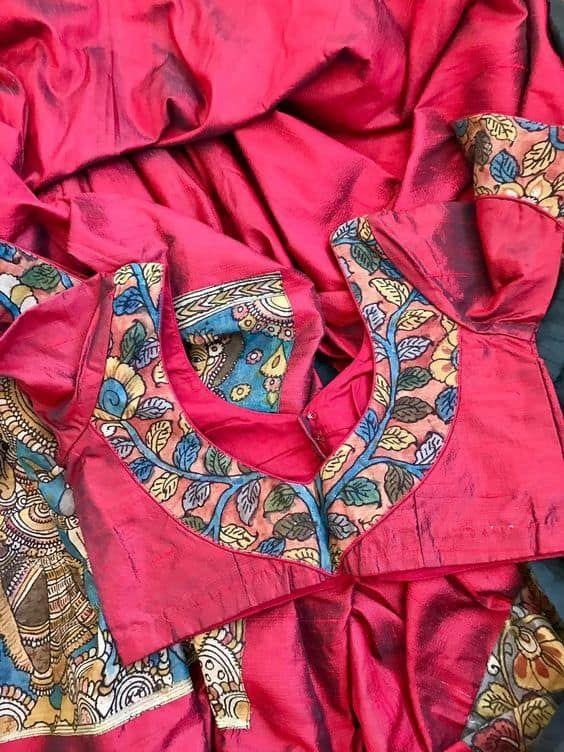 Kalamkari Saree Work Blouse Designs (116)