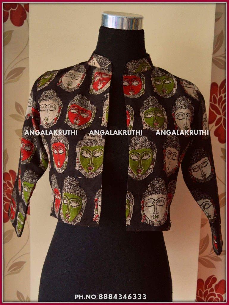 Kalamkari Saree Work Blouse Designs (119)