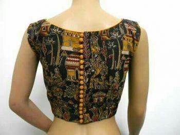 Kalamkari Saree Work Blouse Designs (122)