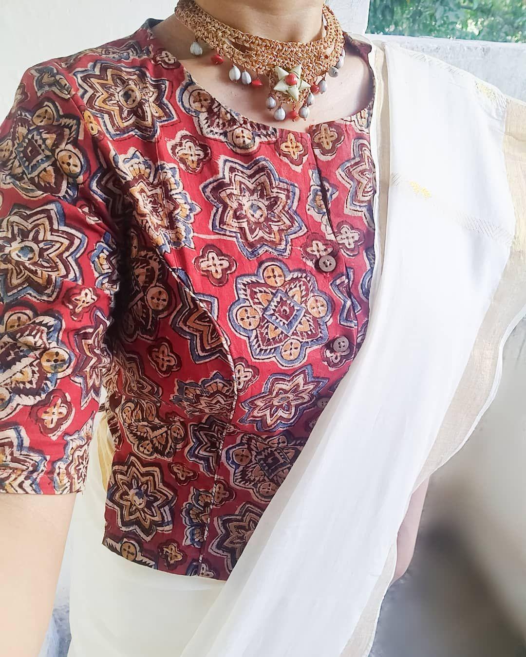 Kalamkari Saree Work Blouse Designs (123)