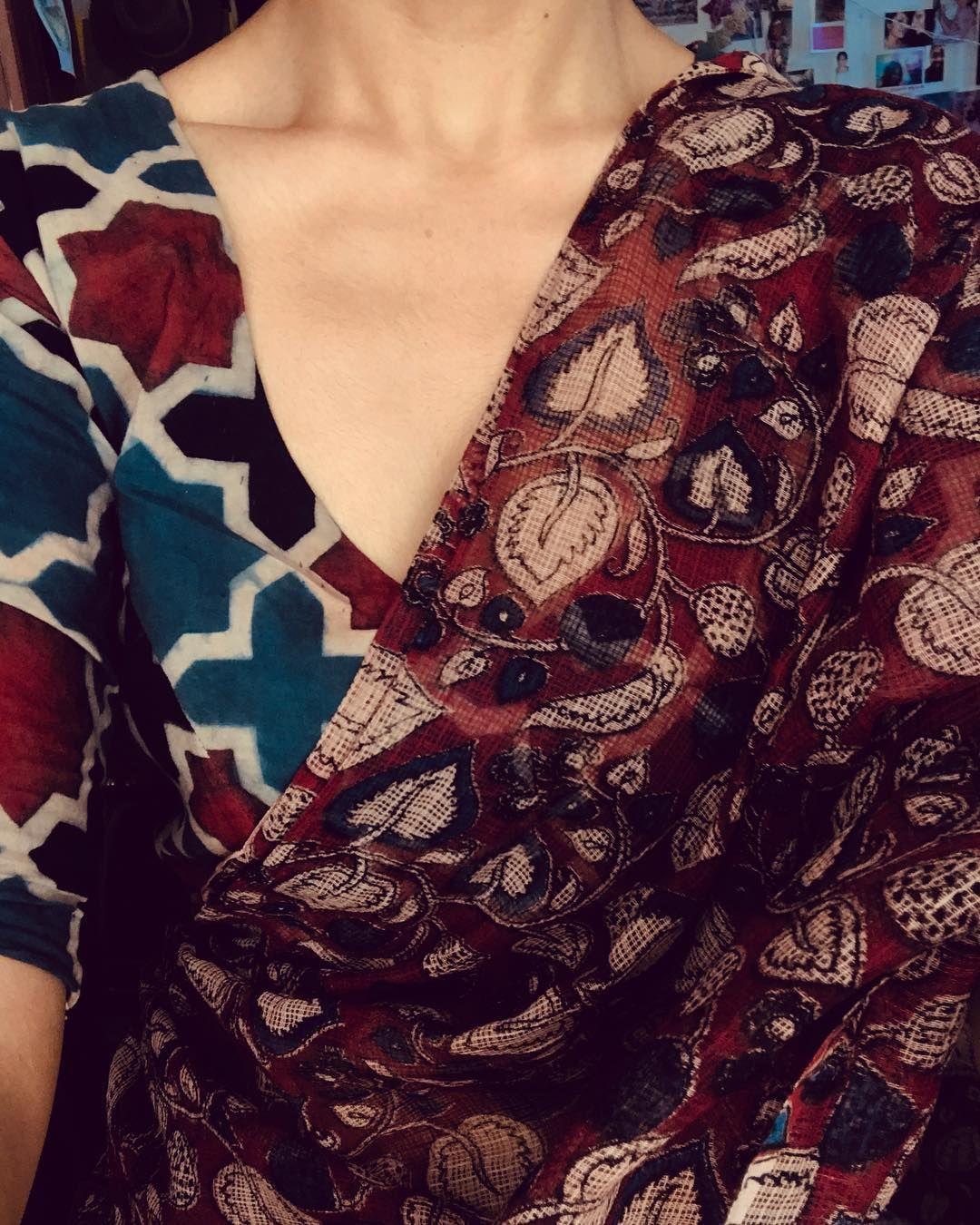 Kalamkari Saree Work Blouse Designs (125)