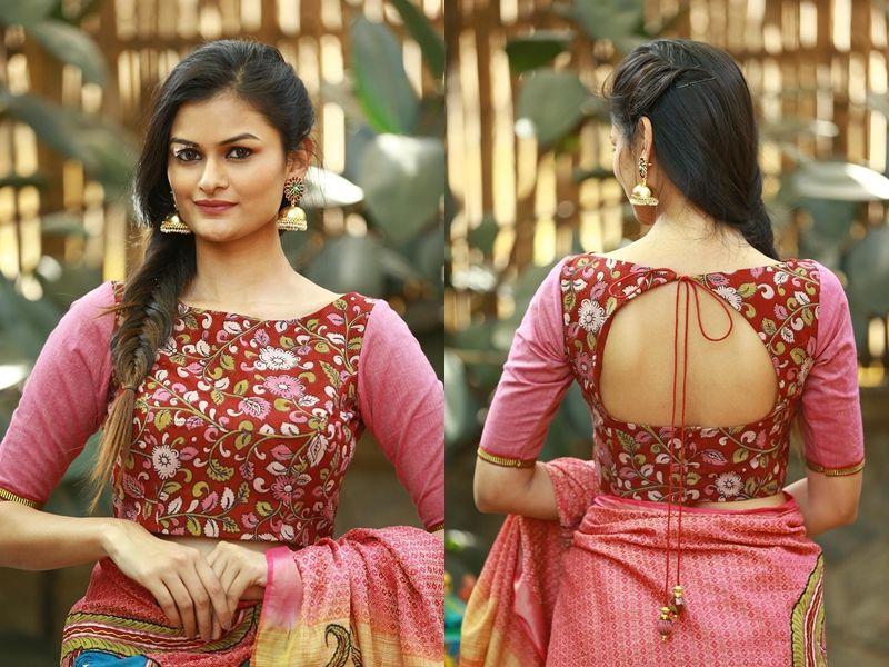 Kalamkari Saree Work Blouse Designs (127)