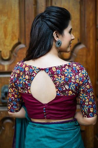 Kalamkari Saree Work Blouse Designs (138)