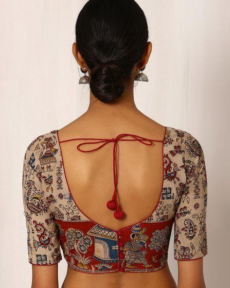 Kalamkari Saree Work Blouse Designs (143)