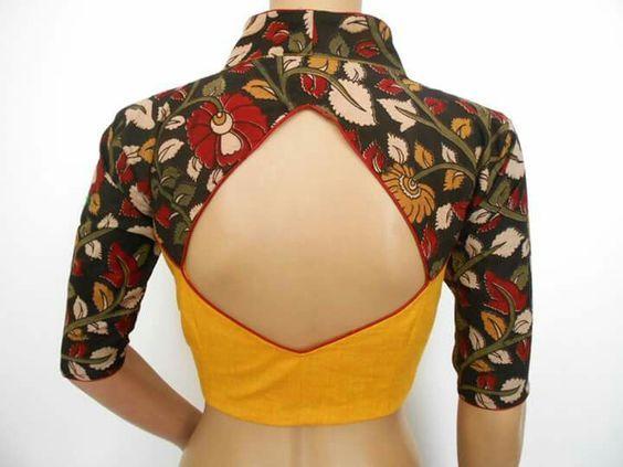 Kalamkari Saree Work Blouse Designs (144)