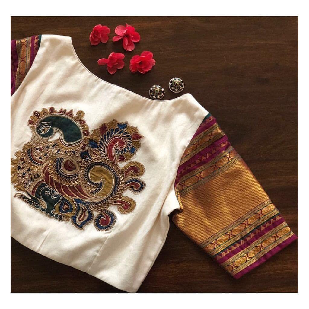 Kalamkari Saree Work Blouse Designs (145)