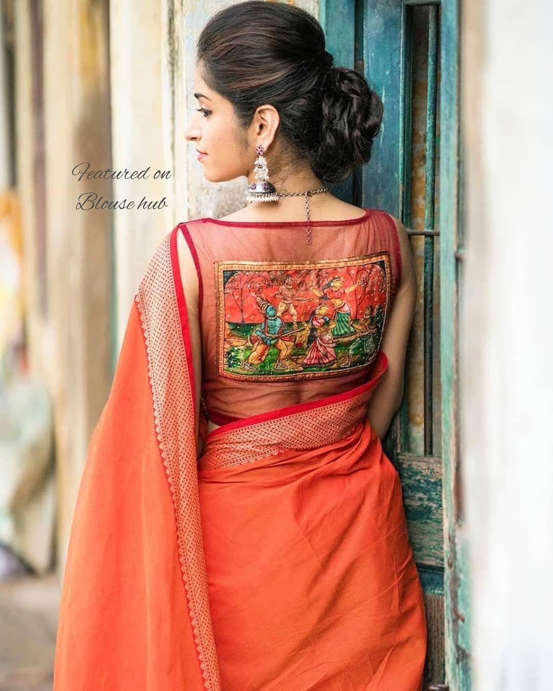 Kalamkari Saree Work Blouse Designs (147)