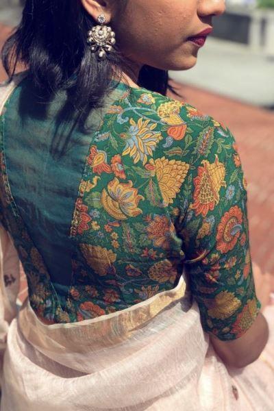 Kalamkari Saree Work Blouse Designs (15)
