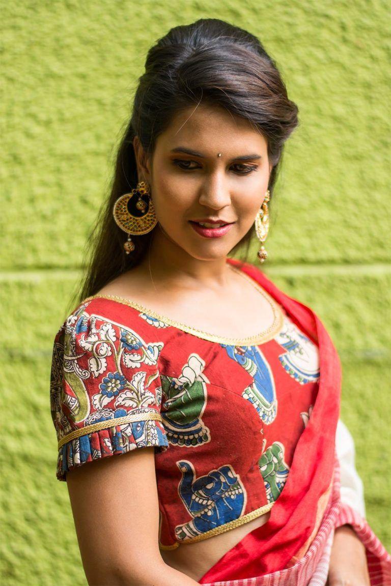 Kalamkari Saree Work Blouse Designs (153)