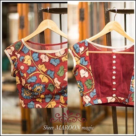 Kalamkari Saree Work Blouse Designs (156)