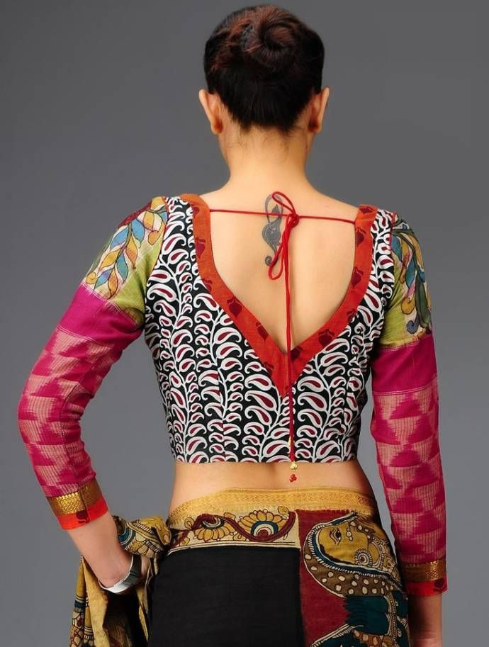 Kalamkari Saree Work Blouse Designs (159)