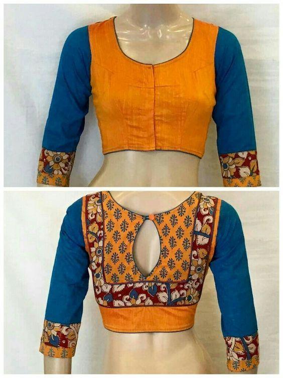 Kalamkari Saree Work Blouse Designs (160)