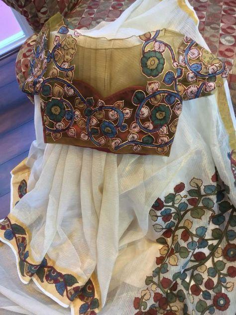 Kalamkari Saree Work Blouse Designs (162)
