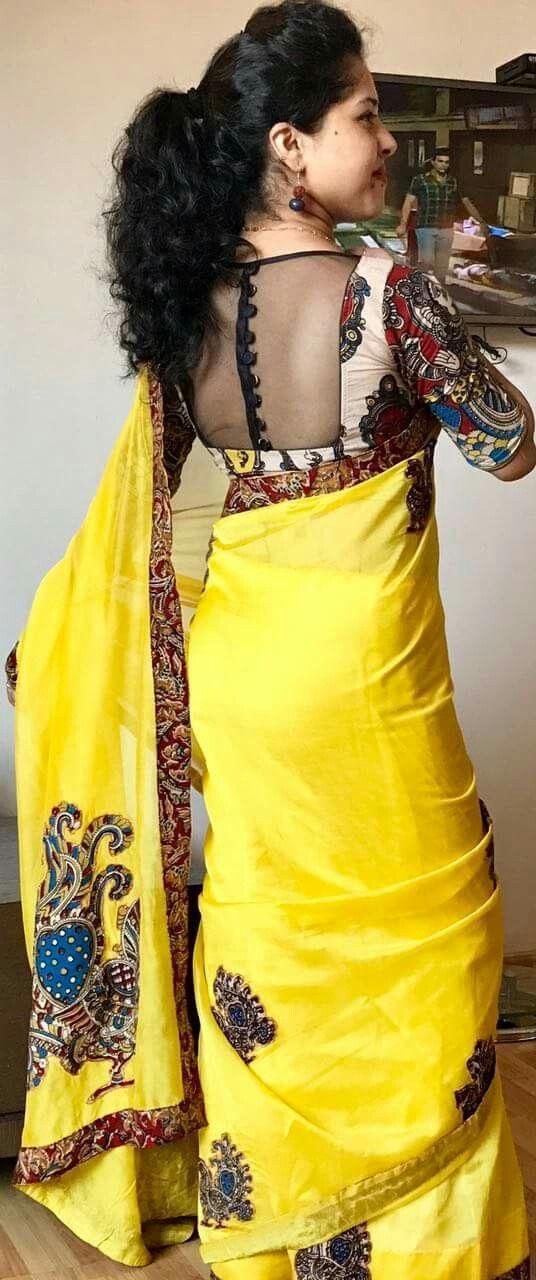 Kalamkari Saree Work Blouse Designs (167)