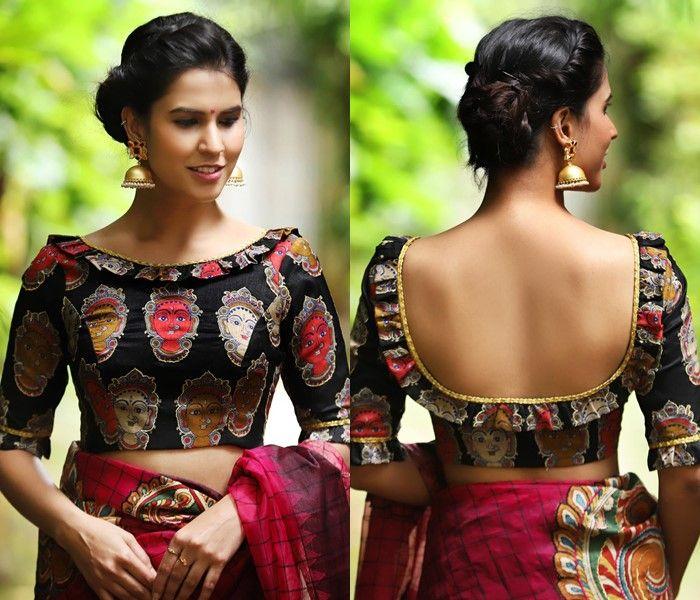 Kalamkari Saree Work Blouse Designs (169)