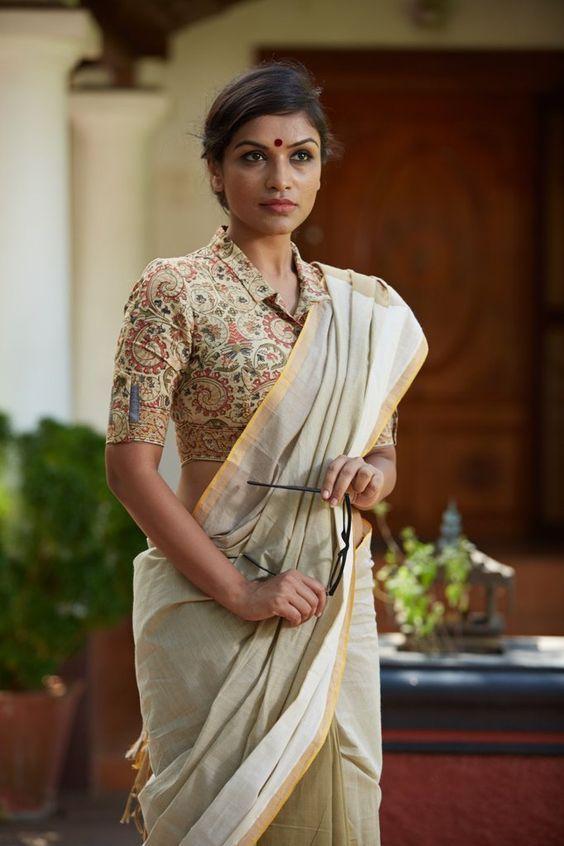 Kalamkari Saree Work Blouse Designs (183)