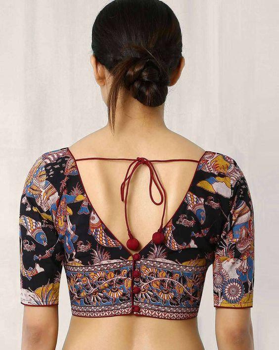 Kalamkari Saree Work Blouse Designs (190)
